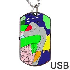 Crazy Abstraction Dog Tag Usb Flash (two Sides)  by Valentinaart