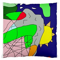 Crazy Abstraction Large Cushion Case (one Side) by Valentinaart