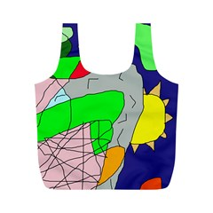 Crazy Abstraction Full Print Recycle Bags (m)  by Valentinaart