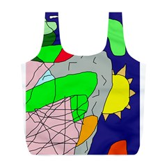 Crazy Abstraction Full Print Recycle Bags (l)  by Valentinaart