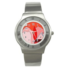 Red Landscape Stainless Steel Watch by Valentinaart