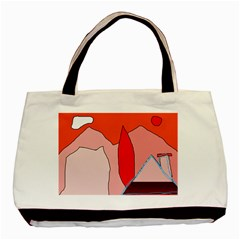 Red Landscape Basic Tote Bag (two Sides) by Valentinaart
