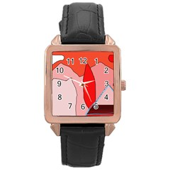 Red Landscape Rose Gold Leather Watch