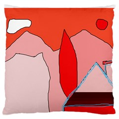 Red Landscape Large Flano Cushion Case (two Sides) by Valentinaart