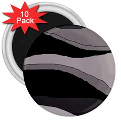 Black And Gray Design 3  Magnets (10 Pack)  by Valentinaart