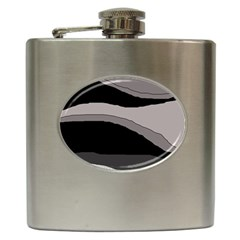 Black And Gray Design Hip Flask (6 Oz) by Valentinaart