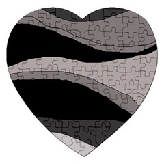 Black And Gray Design Jigsaw Puzzle (heart) by Valentinaart