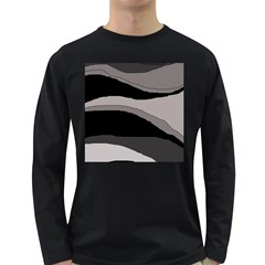 Black And Gray Design Long Sleeve Dark T Shirts by Valentinaart
