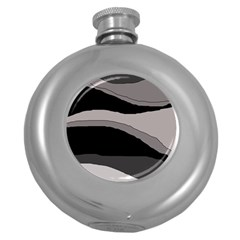 Black And Gray Design Round Hip Flask (5 Oz) by Valentinaart
