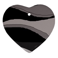 Black And Gray Design Heart Ornament (2 Sides) by Valentinaart