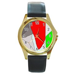 Colorful Abstraction Round Gold Metal Watch by Valentinaart