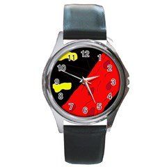 Red Abstraction Round Metal Watch by Valentinaart