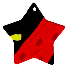 Red Abstraction Ornament (star)  by Valentinaart