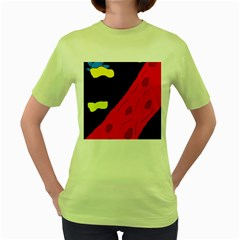 Red Abstraction Women s Green T Shirt by Valentinaart