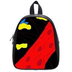 Red Abstraction School Bags (small)  by Valentinaart