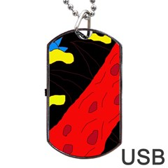 Red Abstraction Dog Tag Usb Flash (one Side) by Valentinaart