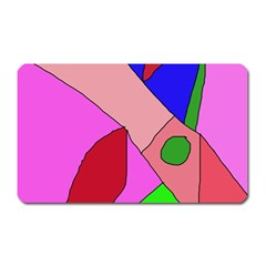 Pink Abstraction Magnet (rectangular) by Valentinaart