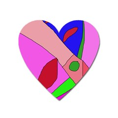 Pink Abstraction Heart Magnet by Valentinaart