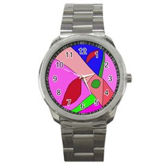 Pink Abstraction Sport Metal Watch by Valentinaart