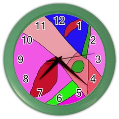 Pink Abstraction Color Wall Clocks by Valentinaart
