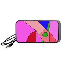 Pink Abstraction Portable Speaker (black)  by Valentinaart