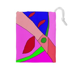 Pink Abstraction Drawstring Pouches (large)  by Valentinaart