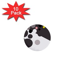 Gray, Yellow And Pink Dots 1  Mini Buttons (10 Pack)  by Valentinaart