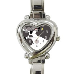 Gray, Yellow And Pink Dots Heart Italian Charm Watch by Valentinaart