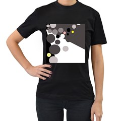 Gray, Yellow And Pink Dots Women s T Shirt (black) (two Sided) by Valentinaart