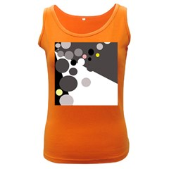 Gray, Yellow And Pink Dots Women s Dark Tank Top by Valentinaart
