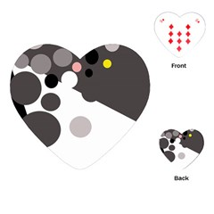 Gray, Yellow And Pink Dots Playing Cards (heart)  by Valentinaart