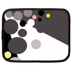 Gray, Yellow And Pink Dots Netbook Case (xl)  by Valentinaart