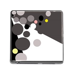 Gray, Yellow And Pink Dots Memory Card Reader (square) by Valentinaart