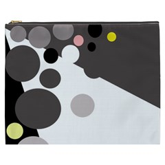 Gray, Yellow And Pink Dots Cosmetic Bag (xxxl)  by Valentinaart