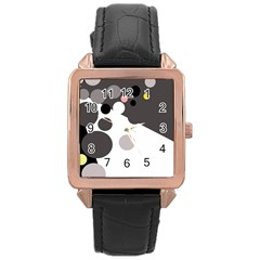 Gray, Yellow And Pink Dots Rose Gold Leather Watch