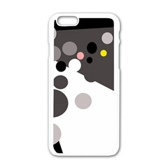 Gray, Yellow And Pink Dots Apple Iphone 6/6s White Enamel Case by Valentinaart