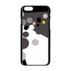 Gray, Yellow And Pink Dots Apple Iphone 6/6s Black Enamel Case by Valentinaart