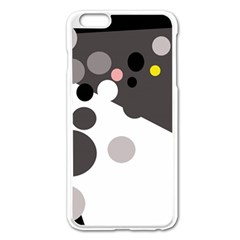 Gray, Yellow And Pink Dots Apple Iphone 6 Plus/6s Plus Enamel White Case by Valentinaart