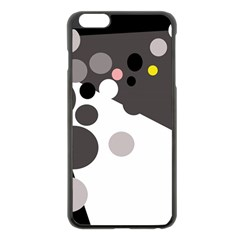 Gray, Yellow And Pink Dots Apple Iphone 6 Plus/6s Plus Black Enamel Case by Valentinaart