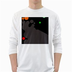 Colorful Dots White Long Sleeve T-shirts