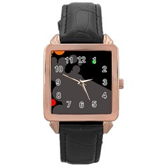 Colorful Dots Rose Gold Leather Watch  by Valentinaart