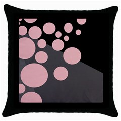 Pink Dots Throw Pillow Case (black) by Valentinaart