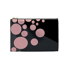 Pink Dots Cosmetic Bag (medium)  by Valentinaart