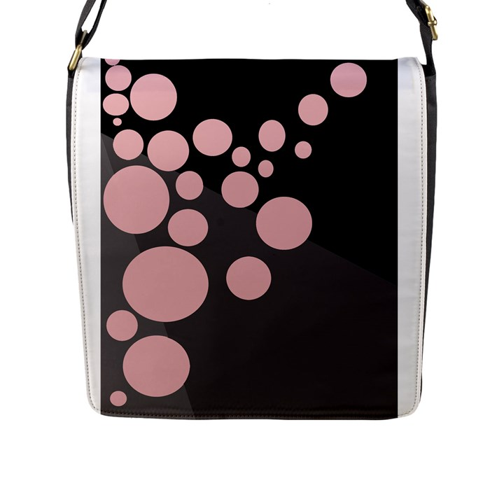 Pink dots Flap Messenger Bag (L)