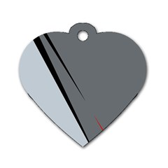 Elegant Gray Dog Tag Heart (one Side) by Valentinaart