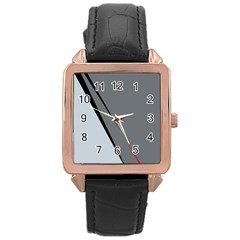 Elegant Gray Rose Gold Leather Watch