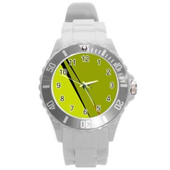 Yellow Elegant Design Round Plastic Sport Watch (l) by Valentinaart