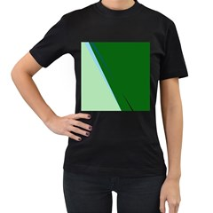 Green Design Women s T-shirt (black) (two Sided) by Valentinaart
