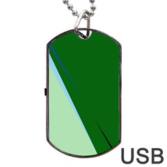 Green Design Dog Tag Usb Flash (one Side) by Valentinaart