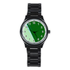 Green Design Stainless Steel Round Watch by Valentinaart
